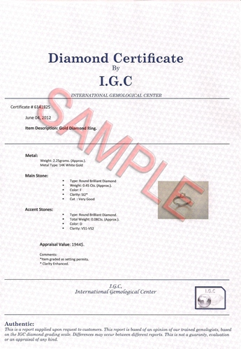 fcc42d6dc ... stone is evaluated and the certificate is created, a scanned copy is  published online. You can verify your certificate authenticity using this  service.